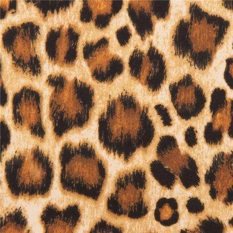 Tissu en flanelle marron et noir, peau de léopard, par Michael Miller
