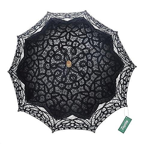 TopTie Antiqued Battenburg Lace Parasol Bridal Umbrella Wedding Prop
