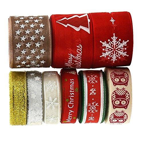 MagiDeal 9er Set Dekoband Stoff Schleifenband Gewebeband Weihnachten Hochzeit Deko