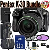 Pentax K30 Digital Camera With 18-135mm Lens Kit (Black) + 8GB SDHC Class 10 Memory Card + Extended Life Battery Accessory Saver Bundle!