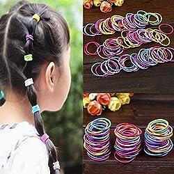 caxuvo 100pcs elástica pelo cuerdas colorido gomas para el pelo coleta soporte bandas de pelo para niñas bebé