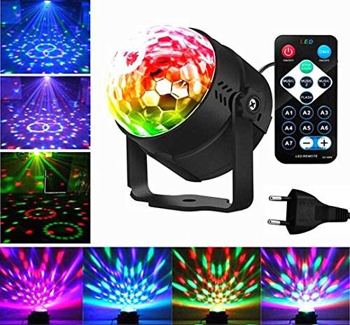 Emwel Discokugel Mini LED Party Lampe Beleuchtung Lichteffekte 3W 7 Farbe RGB Sprachaktiviertes Kristall Magic Ball Bühnenlicht für Kinder Spielzeug Geburtstag Party Hochzeit Feier Weihnachten