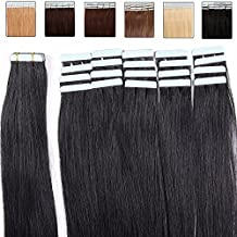 Extensiones cinta adhesiva de pelo natural - 50cm - 20piezas - Tape in Remy Hair Extensions - #01 Negro