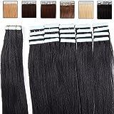 Extensions de Cheveux Bande adhésive Ruban adhésif – 50cm - 20pcs - Extensions en cheveux humains naturels - Grade 6A - Tape in Remy Hair Extensions – #01 Noir