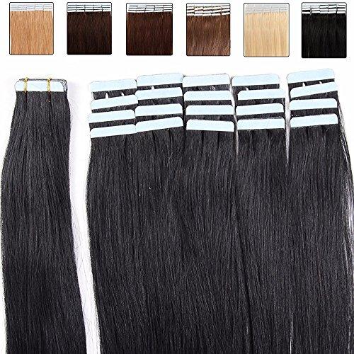 30-60cm extension capelli veri biadesivo nero - 40cm 50g 20 ciocche - 100% remy human hair umani lisci, 1 jet nero
