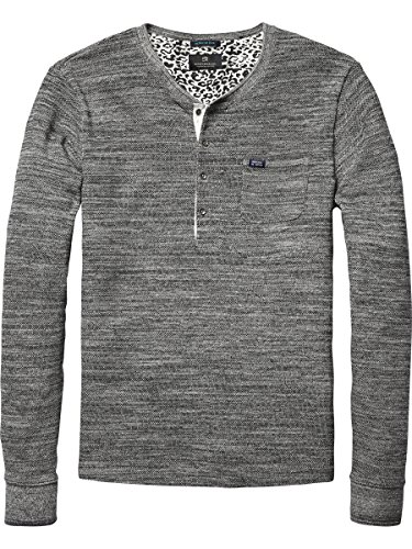 Scotch & Soda Herren Langarmshirt 14040750002 Schwarz (pirate black melange 940)