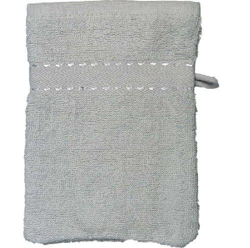 Sensei La Maison du Coton 097071.35 Lot de 3 Pièces Gant Uni Coton Peigné Gris Perle 16 x 22 cm