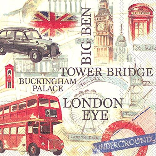 count 3-lagig Servietten, London Sightseeing, Papier, multicolor (Serviette Drucken)