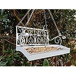 Garden mile® White French Shabby Chic Garden Bench Swing Seat Bird Feeder Garden Decoration Bird Table Seed Nut Suet… 5