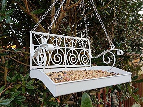 Garden mile® White French Shabby Chic Garden Bench Swing Seat Bird Feeder Garden Decoration Bird Table Seed Nut Suet… 1