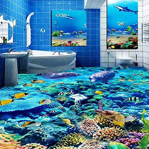 Foto de Lqwx Delfines Foto Personalizada Piso Piso En 3D En El Suelo Del Baño Mural Tapiz De Pvc Autoadhesivo Papel De Pared 300Cmx210Cm