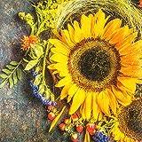 20 Servietten Sonnenblume Herbst Vintage 33x33 cm