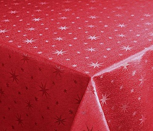 Lurex stelle tovaglia, Oro o Argento Lucido, di Natale tovaglia Taglia a scelta, Tessuto, Rosso-argento, Eckig 130 x 260 cm
