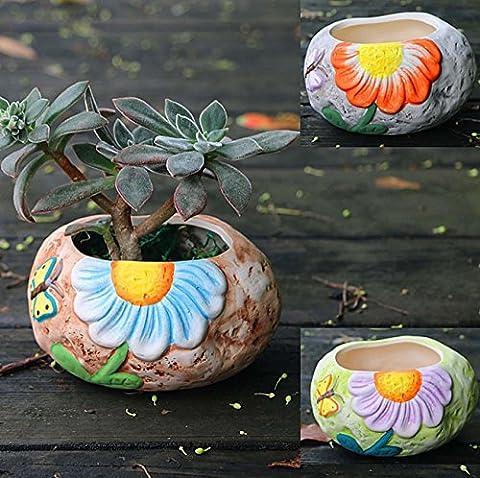 Pots à fleurs multiples à la main de style coréen Relief Vés Pots de poterie brûlante Mignon jardinage Ornements de fleurs Décor de bureau / Artisanat de décoration Cadeau idéal , a set of 3