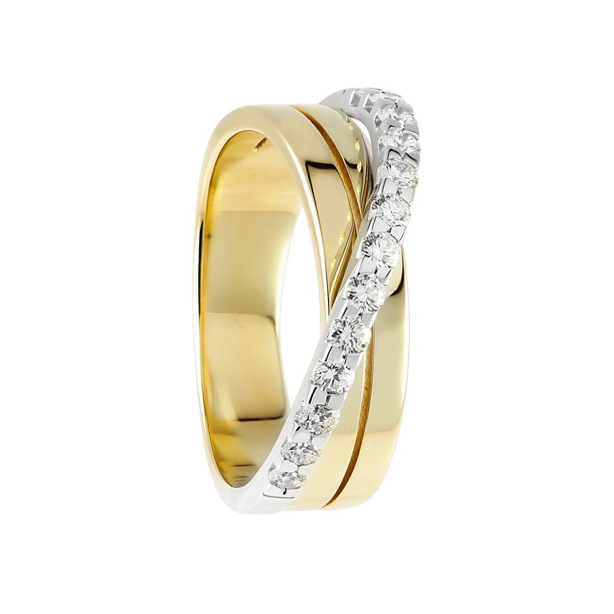 Diamond Line–Anello da donna Diamante 14kt oro giallo 585/oro bianco 13brillanti circa 0.50ct,