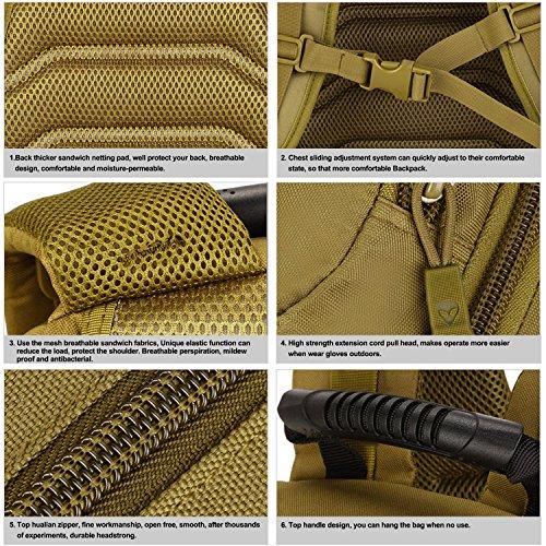 SUNVP Tactical Military Rucksack Molle Large Assault Rucksack 40L 3 Way Wasserdichte Tasche für die Jagd Camping Trekking im Freien Braun
