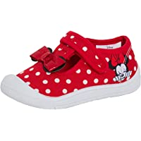 Disney Girls Minnie Mouse Canvas Pumps Toddler First Walker Easy Fasten Plimsolls Trainers Infants Shoes