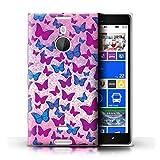 Stuff4® Hülle/Case für Nokia Lumia 1520 / Regenbogen Schmetterlinge Muster/Lila Mode Kollektion