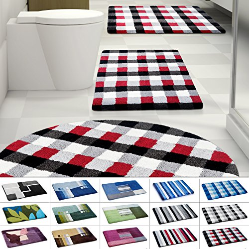 Design Badematte | rutschfester Badvorleger | viele Größen | zum Set kombinierbar | Öko-Tex 100 zertifiziert | viele Muster zur Auswahl | Kariert - Rot (60 x 100 cm)