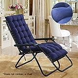 Littlegrasseu - Cojín de repuesto para tumbona de jardín, patio, almohada gruesa para silla reclinable, azul marino