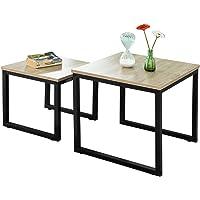 SoBuy® FBT42-N Tables Basses Gigognes - Set de 2 - Lot de 2 Tables d'appoint empilables