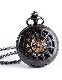 ManChDa Reloj de bolsillo Mecánico Antiguo de Negro Medio Cazador de Números Romanos Esqueleto Hollow