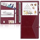 Toplive Porte Documents en cuir Organiseur multifonctionnel dossier de conférence A4 Conferencier classeur Padfolio avec 4 an