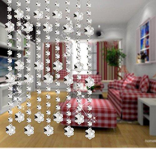 zhichengbosi 3Füße DIY Beads Anhänger Klar Glas Schneeflocke facettierte Kronleuchter Perlen Vorhang Kette