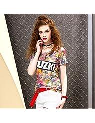 Heart&M de las mujeres ajustado de cuello redondo suéter de manga corta de algodón camiseta ocasional Tops Las camisetas . xl . pink