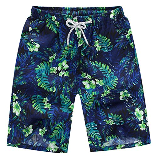 Bestoppen Men's Shorts, Sale Clearance Fashion Mens Leaves Printed Beach Shorts Summer Quick Dry Swim Short Trunks Pants Casual Cotton Surfing Running Swimming Water Shorts Trouser
