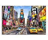 120x80cm Leinwandbild auf Keilrahmen New York Times Square Reklamen Straße Verkehr Wandbild auf Leinwand als Panorama