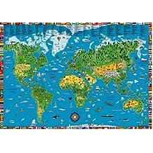 Illustrierte Weltkarte für Kinder und Erwachsene von 5-99: Planokarte in Hülse, Mehrfarbendruck, figurliche Glanzlackierung