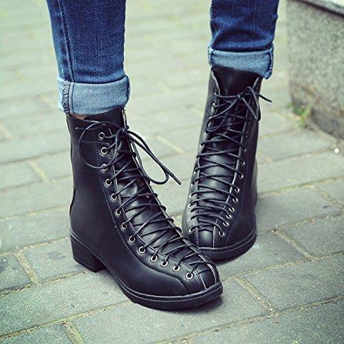 &ZHOU Bottes d'automne et d'hiver Bottes courtes pour femmes adultes Martin bottes bottes Chevalier A4-8 Black