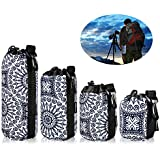 Lens Case Protective Pouch Bag DSLR Camera Lens Neoprene Storage Set for Sony Canon Nikon Panasonic, Individual Waterproof Drawstring Sacks with Snap Hook, S+M+L+XL 4 Pack, Bohemian Porcelain Pattern