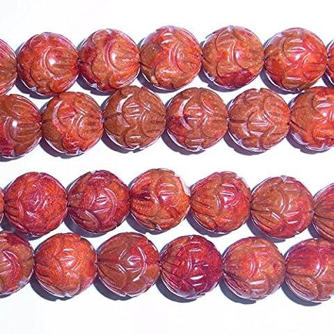 Thetastejewelry 10mm rondes Fruits sculpté Rouge Perles de corail 38,1cm 38cm Bijoux Collier