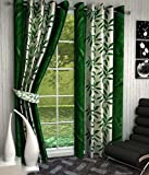 Super India Floral Polyester Window Curtain - 5ft, Green