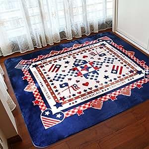 New day®-Più spesso soggiorno tavolino tappeto tappeti stuoia strisciante del bambino super morbido stile verde , blue flag , 185*185cm