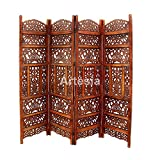 #6: Artesia Handcrafted 4 Panel Room Partition (Brown)