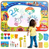 AOLUXLM Aqua Mat Kids Large Water Doodle Mat, Water Drawing Painting Doodle Board Toy for 2 3 4 5 6 7 8 Year Old Boys Girls Toddlers Kids, for Birthday Christmas New Year
