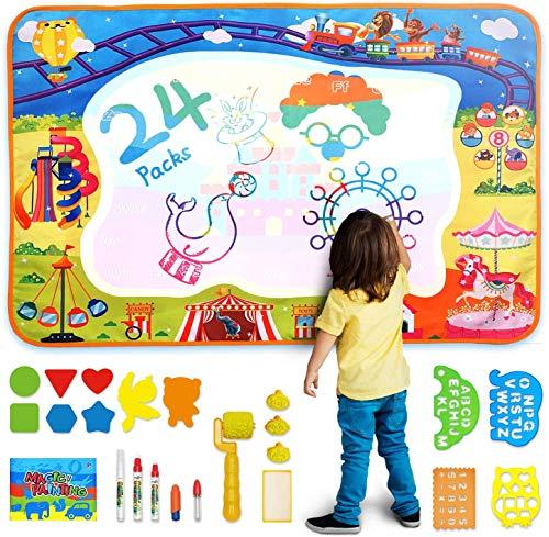 AOLUXLM Baby Spielzeug Aqua Magic Doodle Matte, Wasser Doodle Malmatte mit Einzigartige Magische Wasser Buch & Werkzeuge Rolle Stempel & Anderes Zubehör 100*70cm