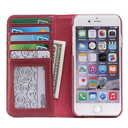 Étui de portefeuille en cuir folio de téléphone portable avec [béquille] [fentes pour cartes] [fermeture magnétique] Flip book housse pour Apple iPhone6/6S Brown Rose