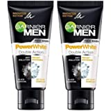 Garnier Men's Face Wash Power White Double Action, 50gm (Pack of 2)