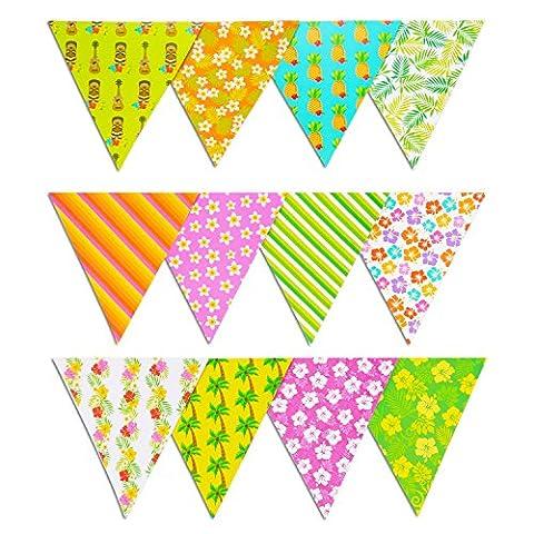 Pangda 2 Packung 8 Füße Beidseitig Party Wimpel Banner, 12 Flaggen Hawaiian Blumen Papier Dreieck Flagge Bunting, Multicolor und Assorted Patterns