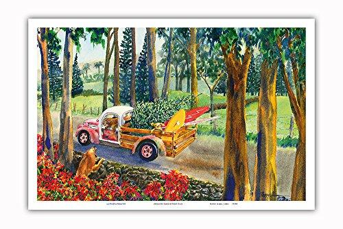 Pacifica Island Art - Hochlandfracht - Hawaiianischer Pick-up Truck mit Surfbrettern, Hunden und Weihnachtsbaum - Hawaii Aquarell Malerei von Peggy Chun - Kunstdruck 31 x 46 cm