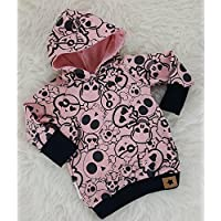 Baby Hoodie Kapuzenpullover rosa cool Skulls Totenkopf