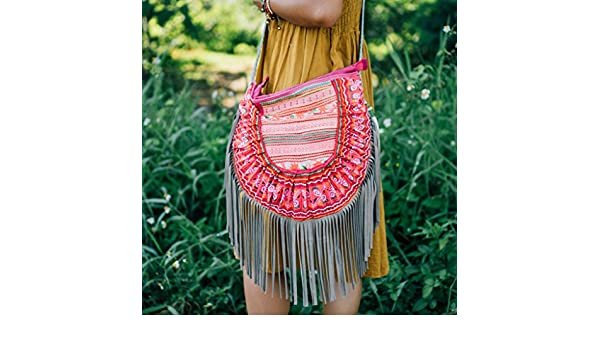 f8ce4f82dc Changnoi Bohemian Leather Fringed Purse with Vintage Hmong Hill Tribe  Embroidered for Womens in Pink from Thailand