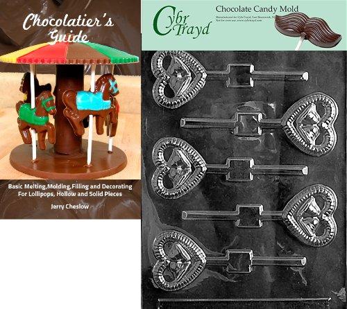 Cybrtrayd W023 Form für Lolly Schokolade, mit Cybrtrayd (englischsprachig), mit Anleitung zur Herstellung von Schokolade + Chocolatierbuch farblos