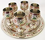 Hand Crafted Metal Brass Glasses Set With Nakashi Bidri Work,Brass Goblet Set perfect for decoration and gifting