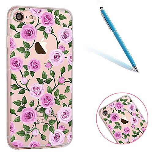 iPhone 6 Handyhülle, CLTPY iPhone 6s Durchsichtig Slim Fit TPU Schutzfall mit Luxus Schöne Muster für Apple iPhone 6/6s + 1 x Freier Stylus - Rosa Dinosaurier Rose