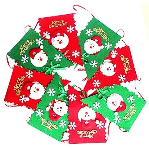 OUMOSI tessuto Natale festone Bandiera Natale Decorazioni da appendere - Vacanze Di Natale Banner Flag